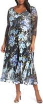 Komarov Floral Print V-Neck Charmeuse Tea Length Dress