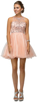 Dancing Queen - Flirty Jeweled Illusion Sweetheart Neck Polyester A-Line Dress 9179