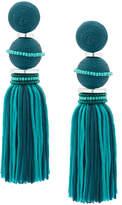 Oscar de la Renta two toned ball tassel earrings