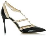 Daniel Tiff Black & Beige Patent Studded Court Shoe