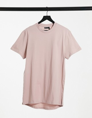 ASOS DESIGN longline T-shirt with side slits in lilac
