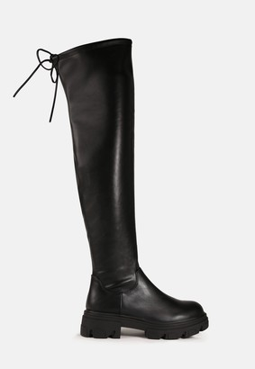 Missguided Black Chunky Sole Knee Boots
