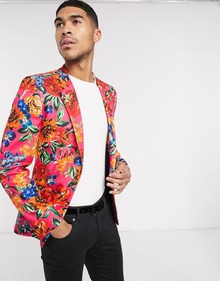 ASOS DESIGN super skinny blazer in pink jersey print