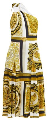 Versace One-shoulder Baroque-print Twill Midi Dress - Yellow Print