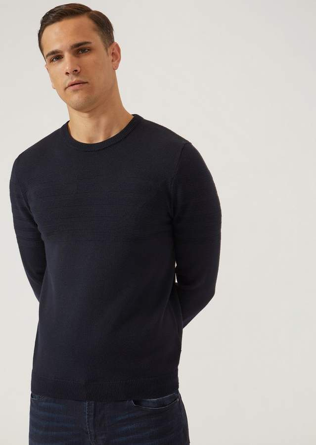 Emporio Armani Virgin Wool Blend Jumper With Logo