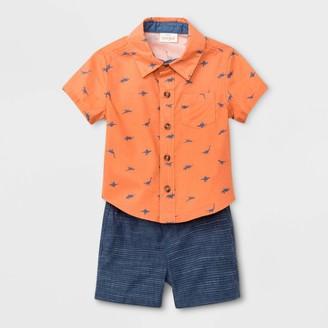 Cat & Jack Baby Boys' Dino Woven Top & Bottom Set - Cat & JackTM Orange/Blue