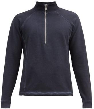 Folk Stand-collar Zipped Cotton-jersey Sweater - Navy