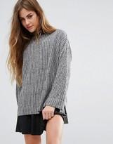 Pull&Bear Step Hem Long Sleeve Ribbed Sweater