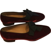 Christian Louboutin Burgundy Suede Flats