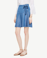 Ann Taylor Chambray Lace Up Skirt