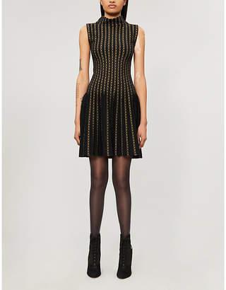 Alaia AZZEDINE Geometric-pattern wool-blend mini dress