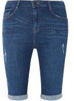 Dorothy Perkins Womens Mid Wash Blue Shaping Knee Shorts- Blue