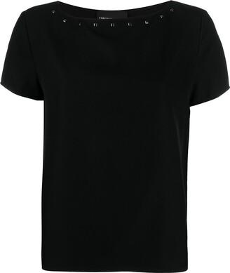 Emporio Armani studded boat neck T-shirt