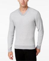 Alfani Men's V-Neck Waffle-Knit Sweater, Regular Fit
