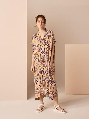 KIN Rie Takeda Ichogoichie Kaftan Dress, Natural/Multi