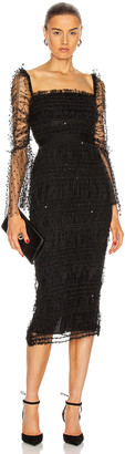 Self-Portrait Dot Mesh Midi Dress in Black | FWRD
