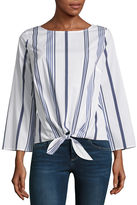 Liz Claiborne Long Sleeve Scoop Neck Tie Front Stripe Blouse