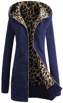Greenis Winter Women Cardigan Hooded Jacket Leopard Velvet Lining Royal Blue