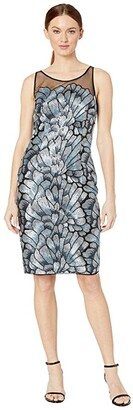 Adrianna Papell Sequin Embroidered Sheath Dress (Silver/Blue Multi) Women's Dress
