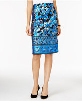 ECI Metallic-Print Pencil Skirt
