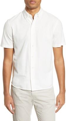 Vince Slim Fit Short Sleeve Pique Button-Down Shirt