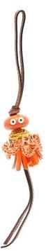 Loewe Paula's Ibiza - Sea Angel Raffia And Leather Key Charm - Orange Multi