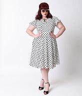 Unique Vintage Plus Size 1940s Style White & Black Dot Formosa Swing Dress
