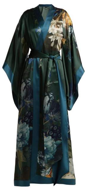 Carine Gilson - Floral Print Silk Satin Kimono Robe - Womens - Blue Print