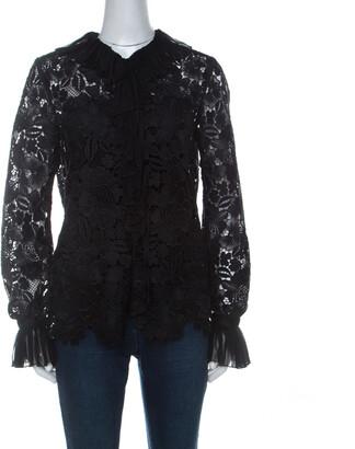 N°21 N21 Black Guipure Lace Pleated Ruffle Detail Long Sleeve Top S