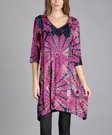 Aster Pink & Blue Medallion Sidetail V-Neck Dress - Plus Too