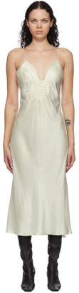Mame Kurogouchi Off-White Embroidered Slip Dress
