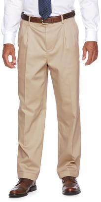 Croft & Barrow Men's No-Iron Relaxed-Fit Pleated Khaki Pants