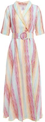 Gül Hürgel Belted Printed Cotton-gauze Midi Wrap Dress