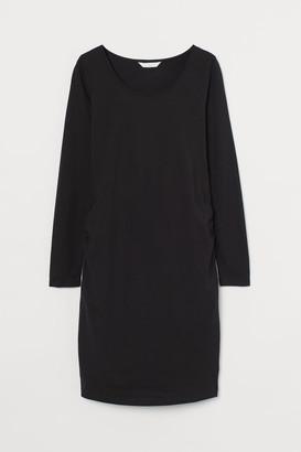 H&M MAMA Cotton Jersey Dress - Black