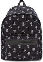 Saint Laurent Cty Dollar Sign Canvas Backpack