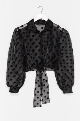 Nasty Gal Womens Sheer Spot Tie Front Shirt - Black - 4