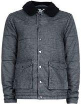 Topman Grey Denim Puffer Jacket