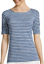 Liz Claiborne Elbow-Sleeve Striped Tee - Tall