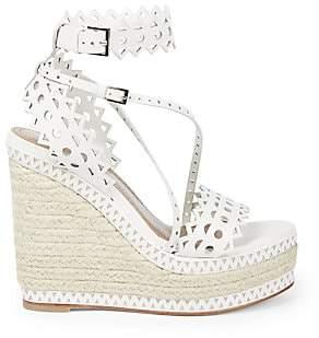 Alaia Women's Lasercut Leather Platform Wedge Espadrille Sandals