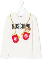 Moschino Kids teddy mittens print T-shirt