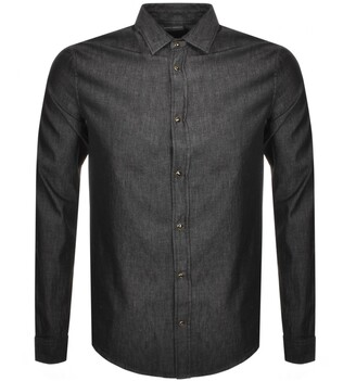 Giorgio Armani Emporio Long Sleeve Chambray Shirt Black