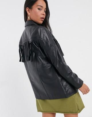Muu Baa Muubaa western fringed leather jacket in black