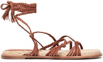 Sigerson Morrison Tasseled Woven Suede Espadrille Sandals