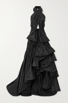 Oscar de la Renta Asymmetric Cutout Silk-taffeta Halterneck Gown - Black