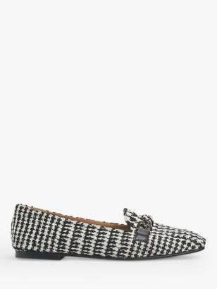 LK Bennett Paige Houndstooth Tweed Loafers, White/Black