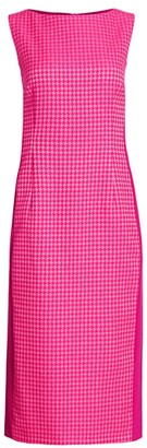 Escada Dalha Houndstooth Sheath Midi Dress