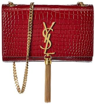Saint Laurent Small Kate Croc-Embossed Leather Shoulder Bag