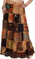 Exotic India Long Printed Dori Skirt from Gujarat with - Color