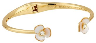 Kate Spade Disco Pansy Thin Cuff (Cream/Clear) Bracelet