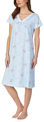 Carole Hochman Soft Jersey Short Sleeve Waltz Gown (White Watercolor Floral) Women's Pajama